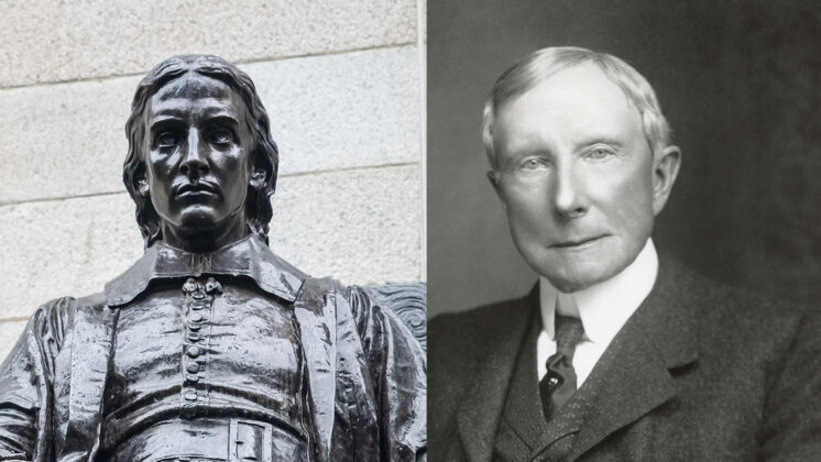 A statue of John Harvard on the left, and an image of John Rockefeller on the right.