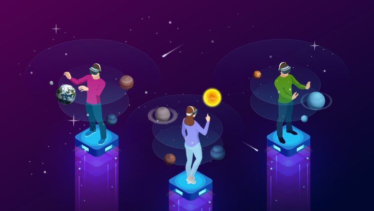 Illustration of people standing on pedestals with VR headsets, manipulating planet simulations