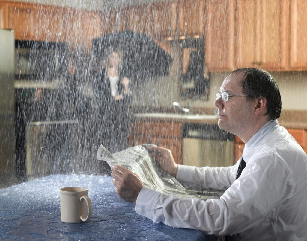 A man obliviously reads a newspaper in a kitchen while rain pours down on top of him; a woman watches from the counter with an umbrella, shocked he's not reading the air and see what's happening