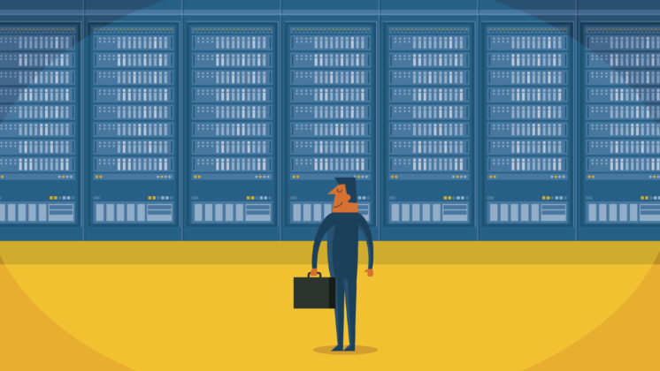 Illustration of a businessman standing before a wall of servers processing big data