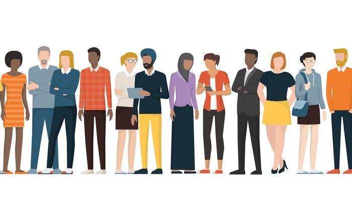 Illustration of people of all races and colors standing around.