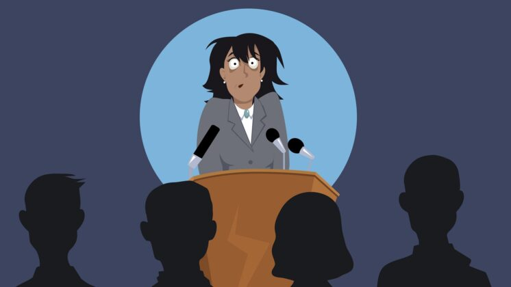 Illustration of a woman at a lectern with no idea how to give an effective presentation