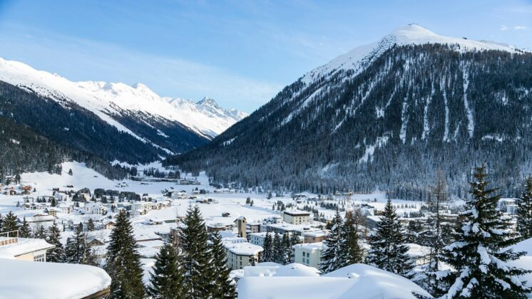 A scenic, snowy image of Davos, Switzerland.
