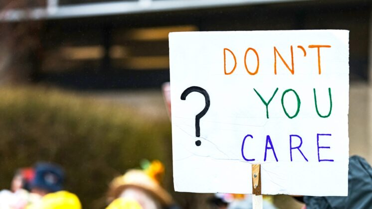 A protest sign with the words,
