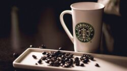 Starbucks coffee beside coffee beans, showing the journey of coffee from the ground up