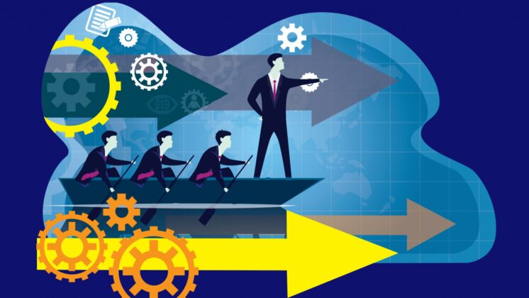 An illustration of a businesspeople leading others above a big yellow arrow.