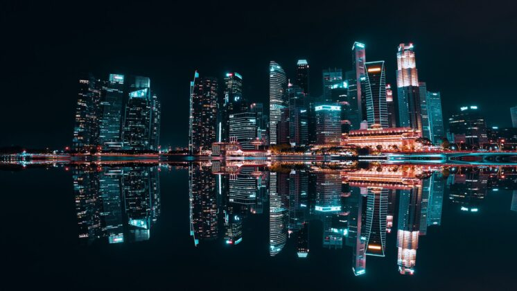 Nightscape of Singapore over water