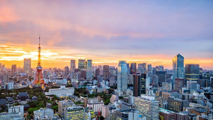 Aerial view of Tokyo as it begins to light up during sunset