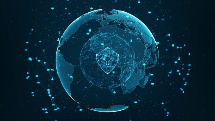 Blue stylized image of the globe surrounded by internet dashicons, overlaid with a locked shield.
