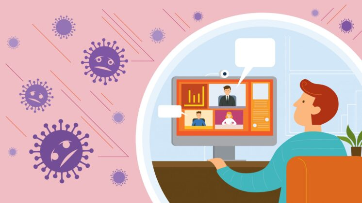 illustration of a man who is teleworking, protected from flying germs by a bubble.