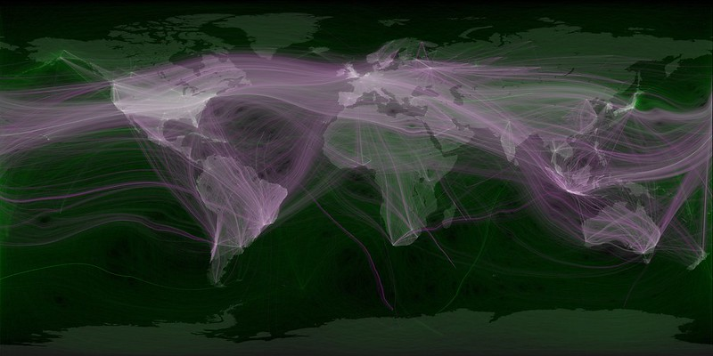A map illustrating both global movement and Twitter replies between areas.
