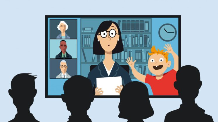 Cartoon of working mother attending a business video conference with little son interrupting