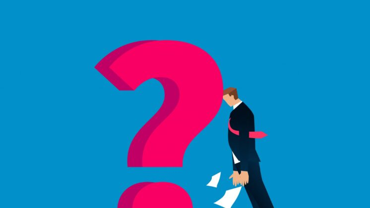 Illustration of a giant pink question mark and a business man butting his head in frustration with papers falling
