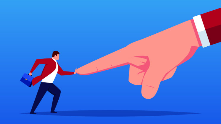 Illustration of employee pushing back against giant pointing hand of micromanagement