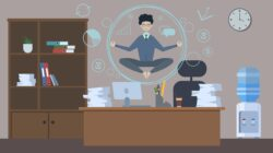Illustration of a businessman hovering in a bubble over his desk as he meditates with office distractions around him