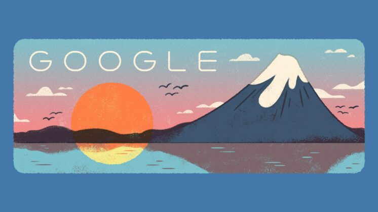 An illustrated Google Doodle for Japan's Mountain Day, showing the setting sun alongside Mount Fuji