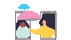 A woman extends an umbrella through a smartphone to cover the head of person under a raincloud.