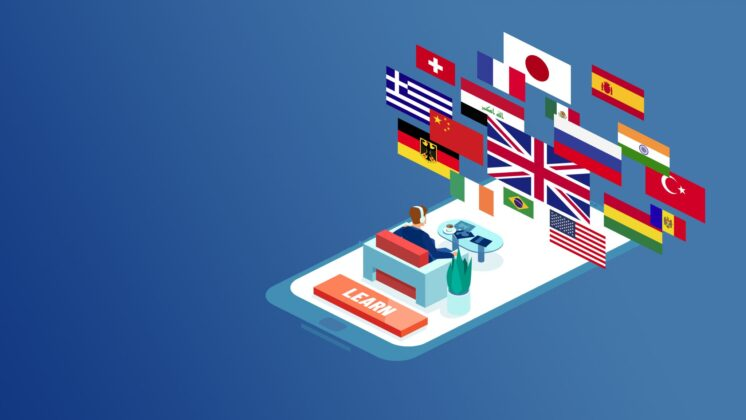 Illustration of a man sitting on a smartphone looking up at a projection of cross-cultural flags