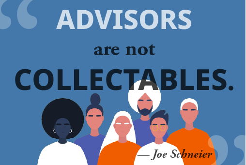 """""""Advisors are not collectables"""" is overlaid over a collection of illustrated people."""