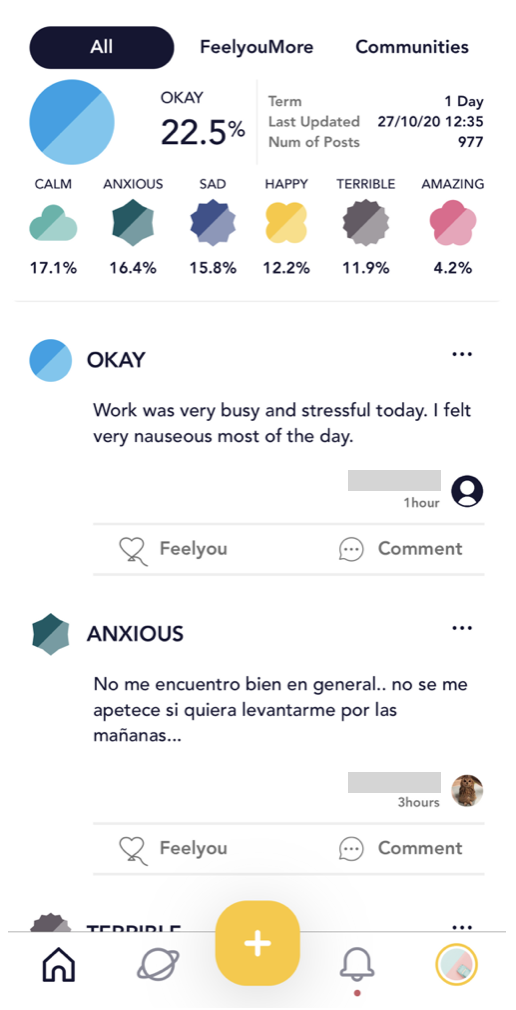 The home screen of Feelyou displays statistics on top and user posts below.