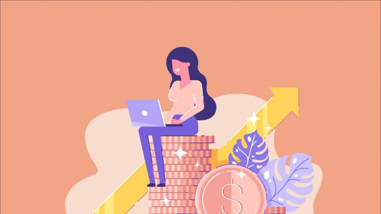Illustration of a woman managing her finances digitally as she sits on a pile of coins with an arrow rising in the background