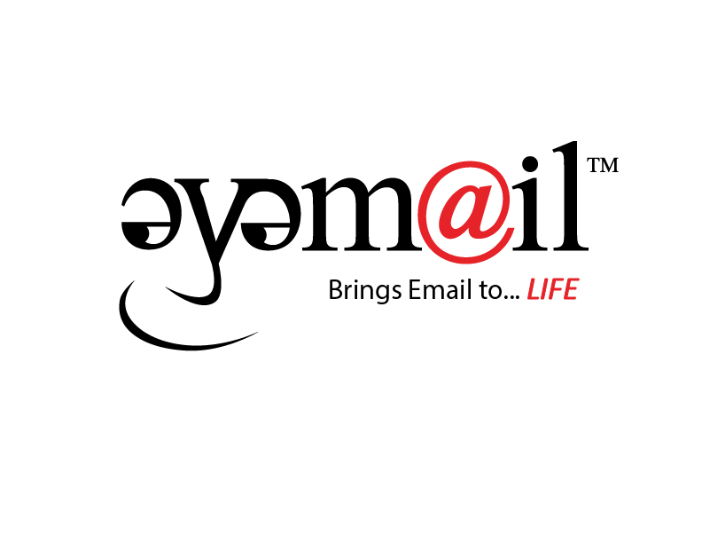 "The EyeMail logo-- 'eye' has been turned into a face, and the ""a"" in ""mail"" is the ""@"" sign."