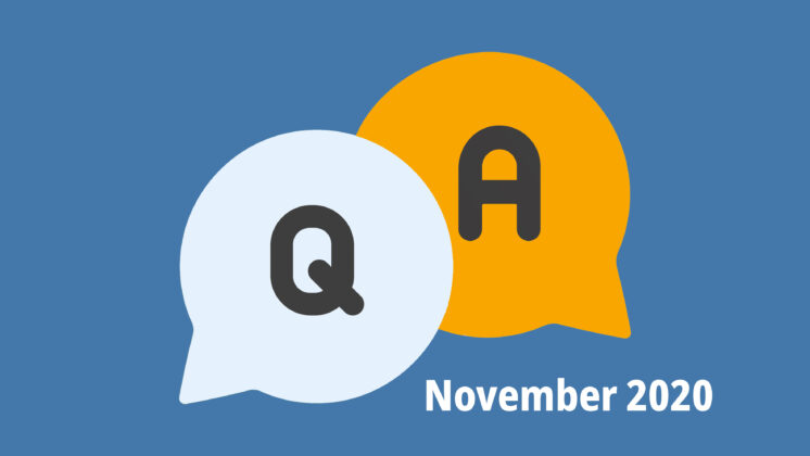Blue screen representing a Q&A with two speech bubbles, one with Q, and one with A, and the letters November 2020 underneath