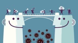Illustration of two heads with a bridge between and businesspeople crossing with various items representing communication and mindfulness, with coronavirus falling below the bridge