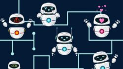 Illustrated robots connected by blue lines illustrate personality in digital transformation