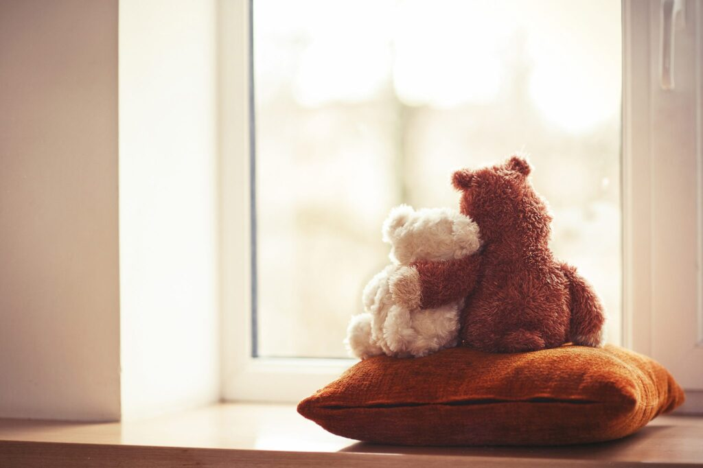 Two teddy bears looking through a window, the bigger one with its arm around the smaller