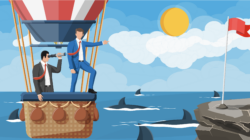 Two businessmen look out of an air balloon over shark-infested waters.