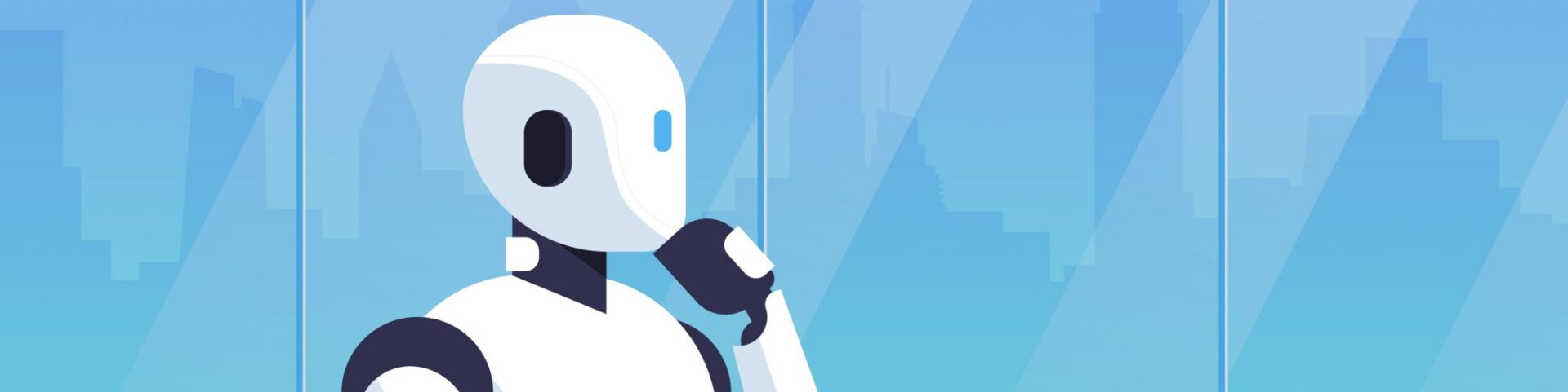 Illustration of a humanoid robot with its hand on its chin, demonstrating how machines learn