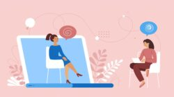 Illustration of two women speaking virtually, one on a laptop as a business mentor, the other casually dressed from home