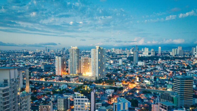 Aerial view at Twilight of Makati business district, Manila, Philippines
