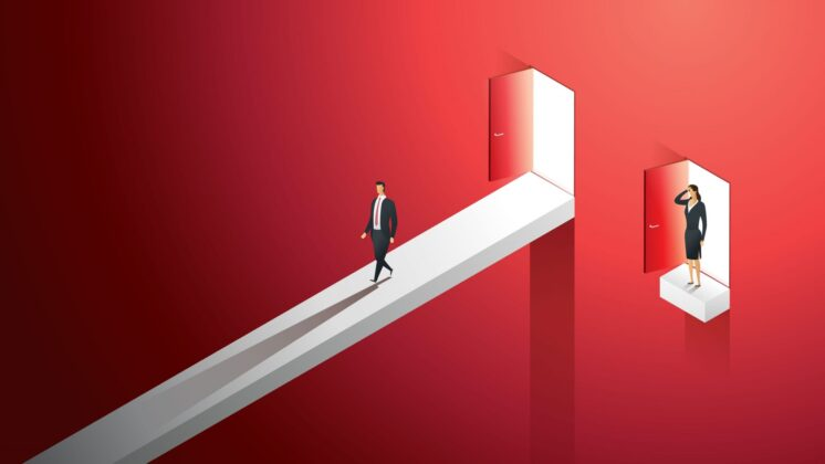 Illustration of a red void with a man walking along a path in the air and a woman stuck with no path, representing gender inequality