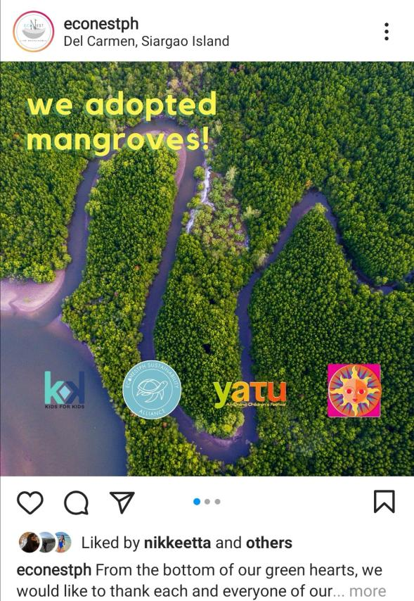 EcoNest Philippines' social media announcement about adopting mangroves
