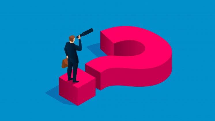 Illustration of a businessman standing on a giant question mark, looking ahead to the future of work through a spyglass