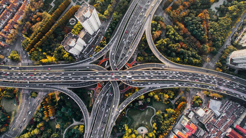 Aerial view of crisscrossing Chinese highways forming a flower-like pattern