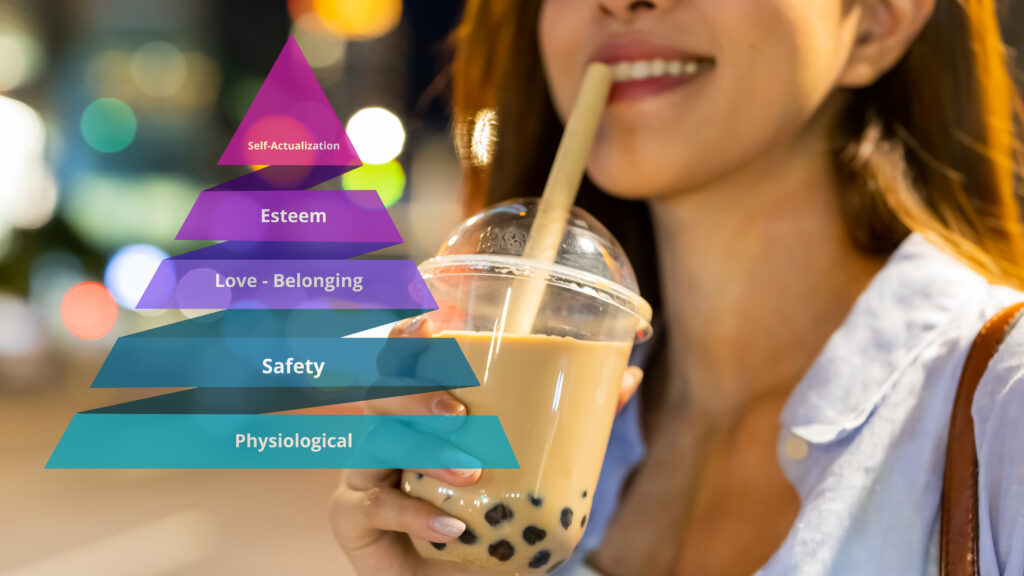Image of a woman drinking tapioca with a superimposed image of Maslow's Hierarchy of Needs