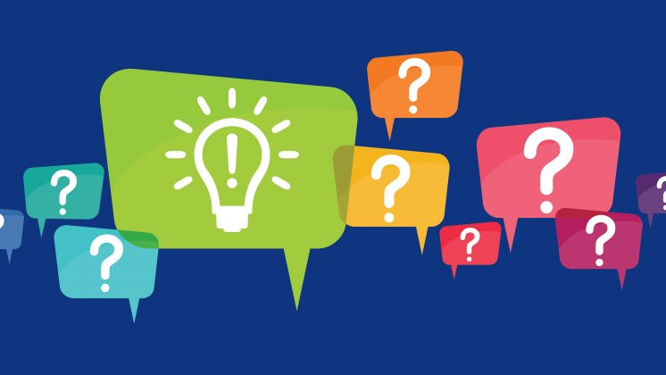 Illustration of colorful question bubbles with a large lightbulb answer bubble and the words