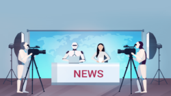 Illustration of a media in the new era, with robots manning the cameras and sitting beside a human newsanchor