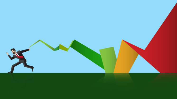 A businessman running over a green field pulling a graph-like line behind him that gradually turns green, showing how the C-suite should care about sustainability