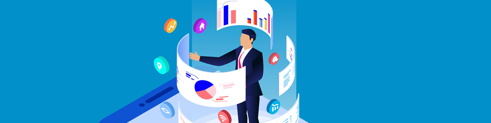 Illustration of a man standing on a smartphone with digital marketing panels swirling around him