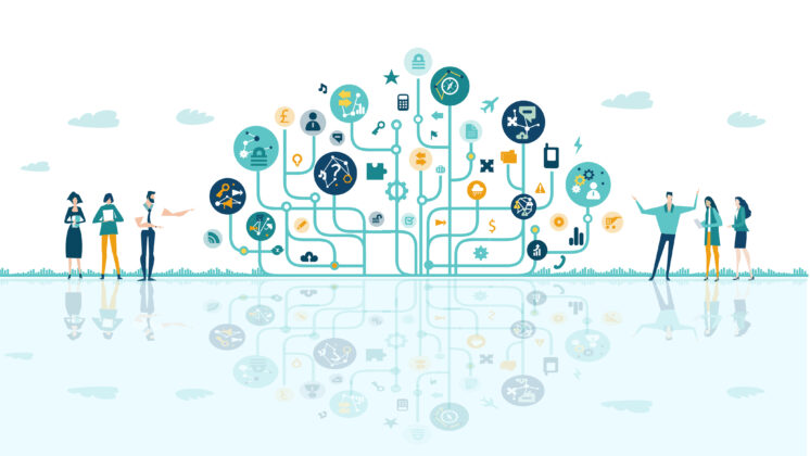 Business people talking next to tech tree, made of icons and communication symbols