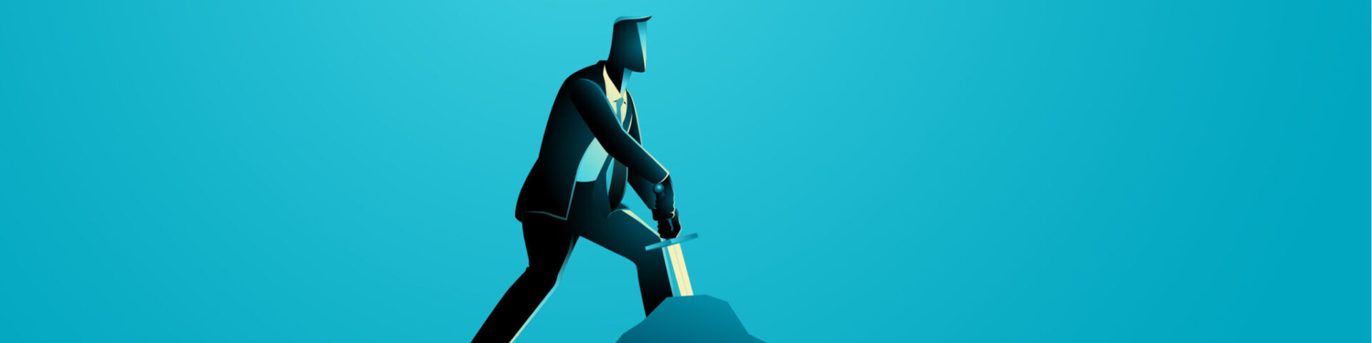 A businessman on a blue background braces himself to pull a sword from a stone, as in the Excalibur myth