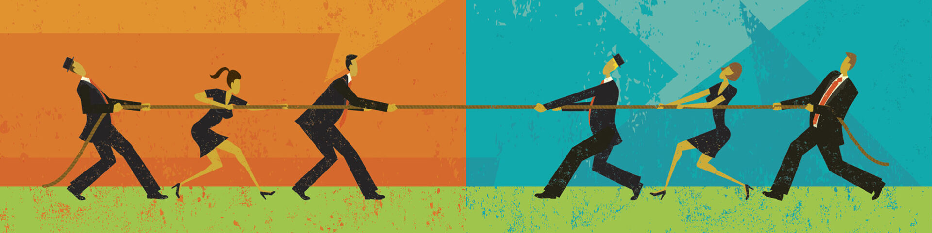 Businesspeople competing in in a tug-of-war battle on the great debates about leadership