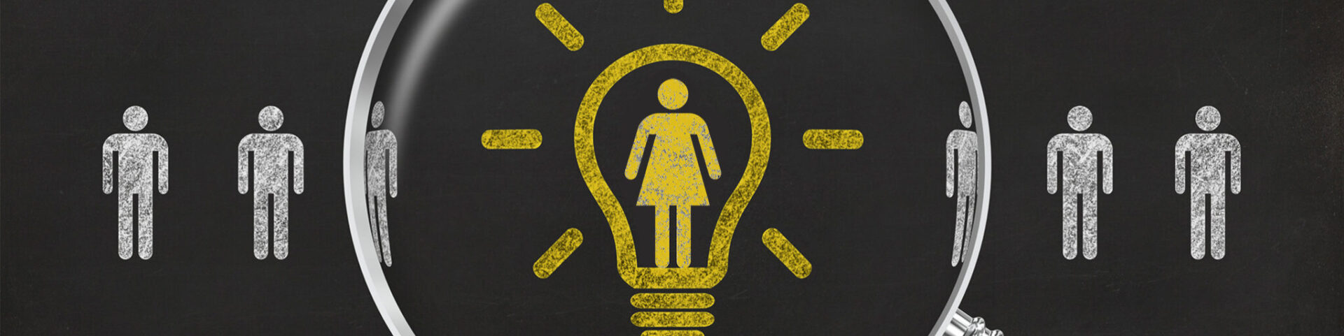 Magnifying glass shows a light bulb around the icon of a woman in a string of male icons