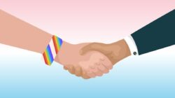 A businessman and member of the LGBTQ+ community shake hands over a background with the colors of the transgender pride flag
