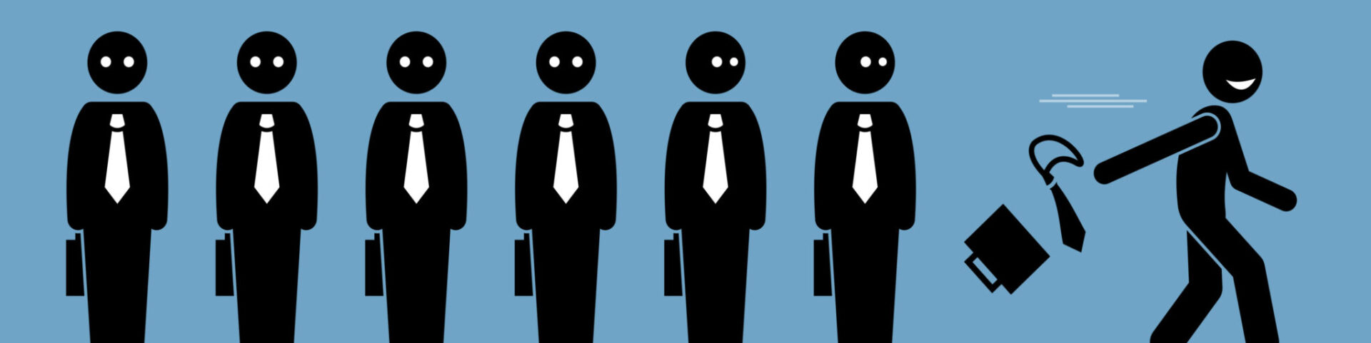 Identical worker icons stand in a neat row, with one on the end running away happily after quitting